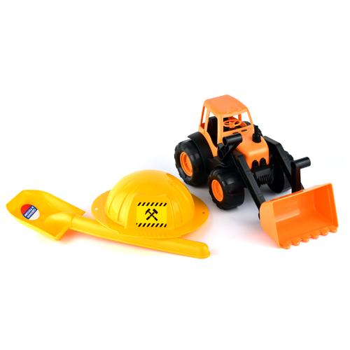 Купить Трактор ZEBRATOYS с каской и лопатой (15-10593) 36 см оранжевый, Машинки и техника