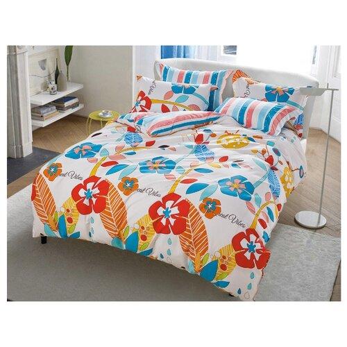 цена на Постельное белье 1.5-спальное DREAM TIME BLK-46-SP-381-1C, сатин белый/красный/голубой