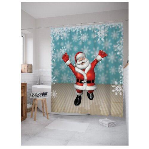Штора для ванной JoyArty Счастье Деда Мороза 180х200 голубой/бежевый/красный стихи деда мороза