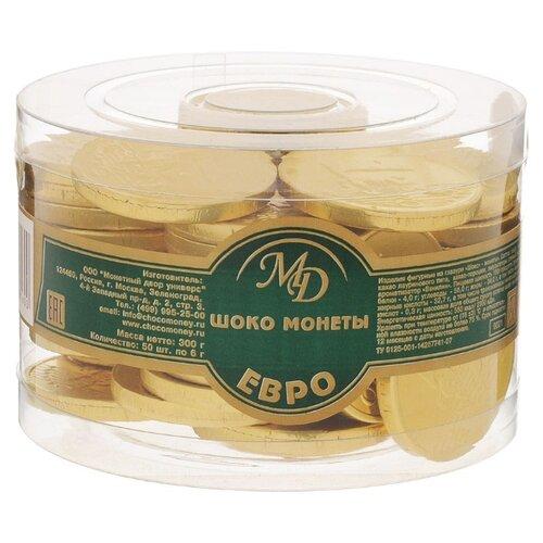 Фигурный шоколад Монетный двор Шоко монеты Евро, молочный шоколад, банка (50 шт.) монетный двор сердечки набор молочный шоколад 75 г