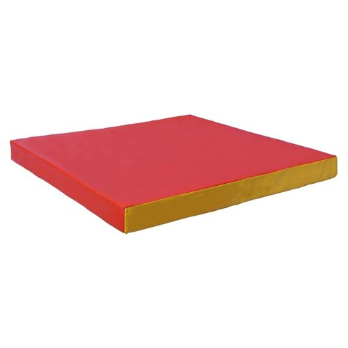 Спортивный мат 1000х1000х100 мм КМС № 2 красный/желтый