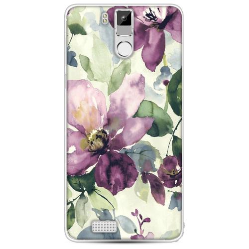 Силиконовый чехол Сиреневые цветы-акварель на Oukitel K6000 Pro