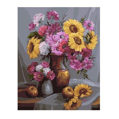 Купить ВанГогВоМне Картина по номерам Маки и Подсолнухи , 40х50 см (ZX 21831), Картины по номерам и контурам