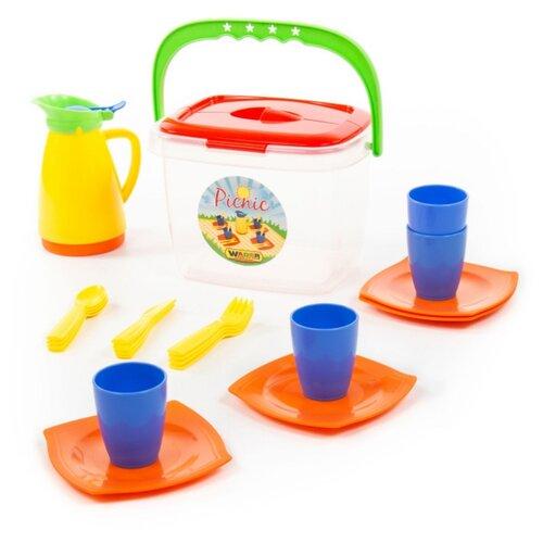 Купить Набор посуды Полесье Алиса для пикника №2 40763 синий/оранжевый/желтый, Игрушечная еда и посуда