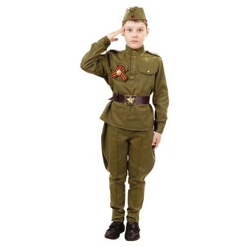 Купить Костюм пуговка Солдат (2032 к-18), хаки, размер 110, Карнавальные костюмы