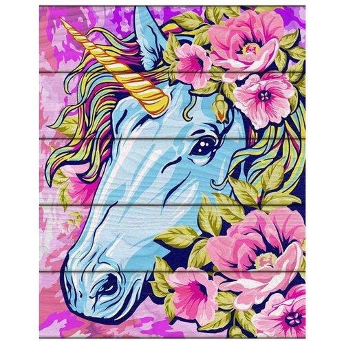 Купить Набор для рисования по номерам по дереву Сказочный единорог (40x50 см), Flamingo, Роспись предметов