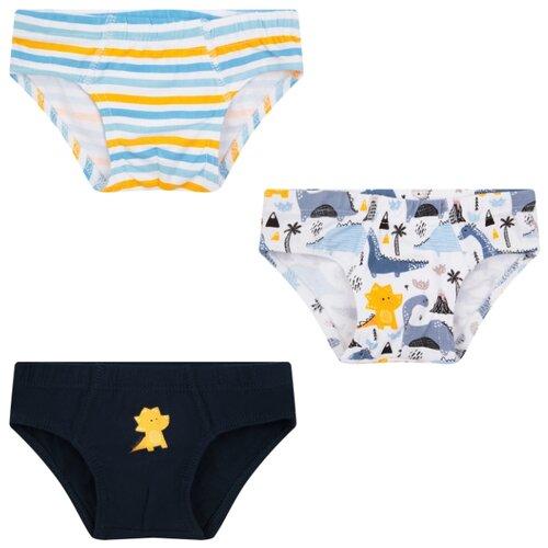 Купить Трусы Leader Kids 3 шт., размер 98-104, белый/синий/черный, Белье и пляжная мода