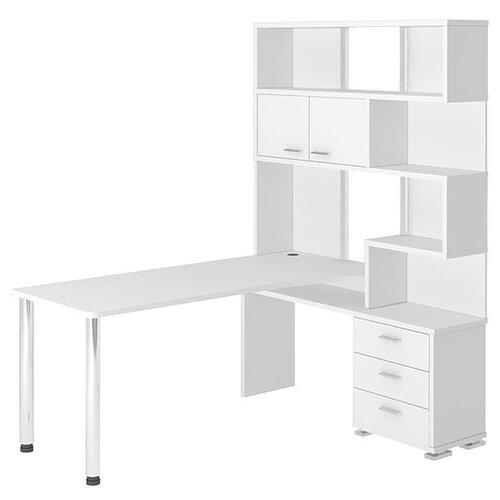 Компьютерный стол Мэрдэс Домино Нельсон СР-420, ШхГ: 130х170 см, угол: справа, цвет: белый жемчуг