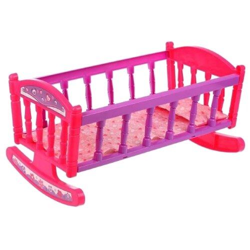 Наша игрушка Кроватка для куклы (DH-2) розовый/фиолетовый
