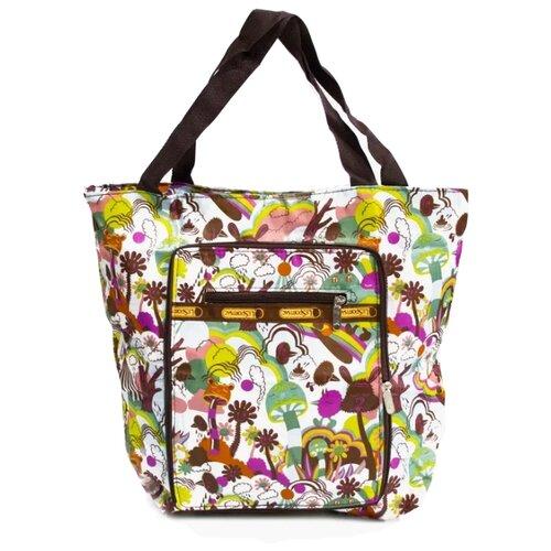 Сумка Kingth Goldn C187-1/2, текстиль, белый/фиолетовый/коричневый сумка тоут kingth goldn c187 3 4 7 8 9 текстиль