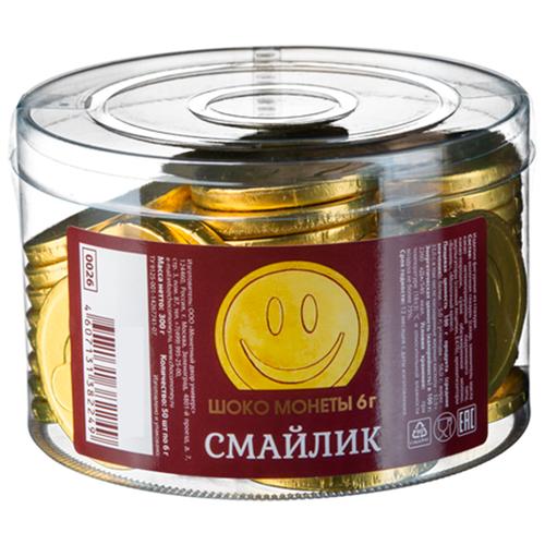 Фигурный шоколад Монетный двор Шоко монеты Смайлик, молочный шоколад, банка (50 шт.) монетный двор сердечки набор молочный шоколад 75 г