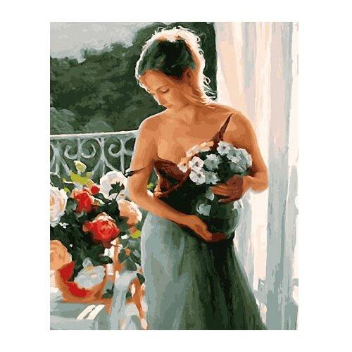 Купить ВанГогВоМне Картина по номерам Девушка с цветами , 40х50 см (ZX 22060), Картины по номерам и контурам