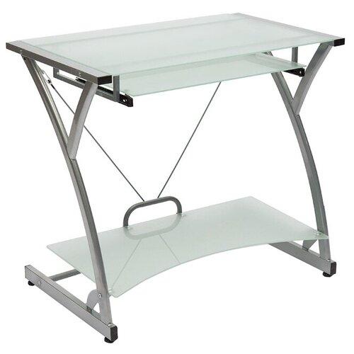 Компьютерный стол TetChair WRX-01, 82х50 см, цвет: стекло матовое/серый каркас