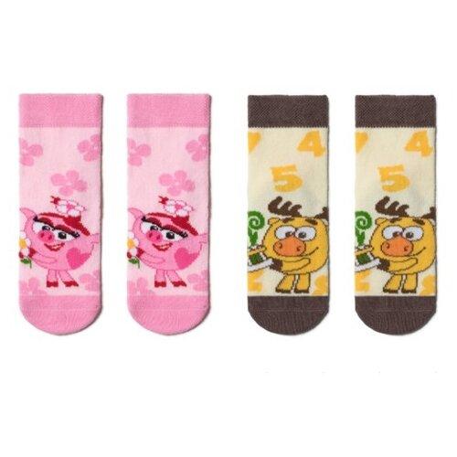 Купить Носки Брестские Смешарики комплект из 2 пар, размер 13-14, розовый/желтый