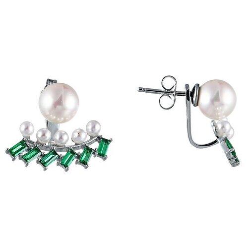 Фото - JV Серебряные серьги с жемчугом, цирконием OE01580G-SR-WM-001-WG jv серебряные серьги с жемчугом eph040 sr wm wg