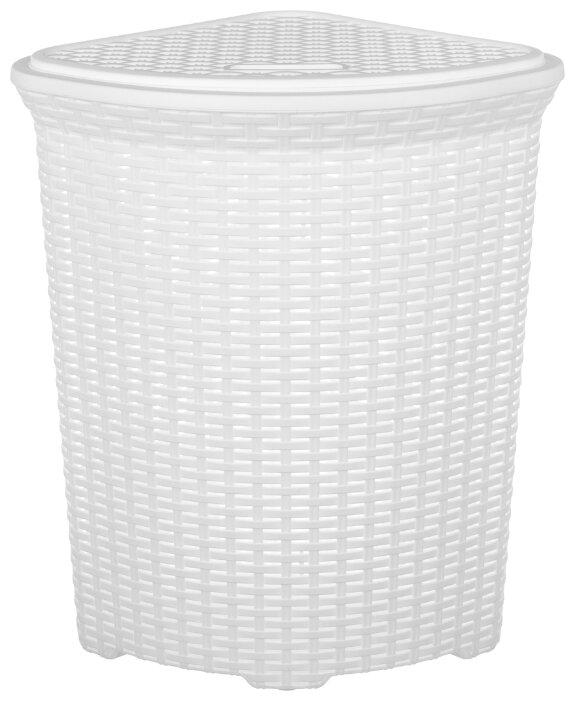 Купить Корзина для белья угловая 60 л 50х41х58 см Violet Ротанг белая с крышкой по низкой цене с доставкой из Яндекс.Маркета (бывший Беру)