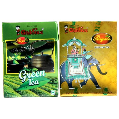 Чай черный и зеленый Goldiee Крупнолистовой Long Leaf Tea и Дарджилинг Darjeeling Green Tea, набор