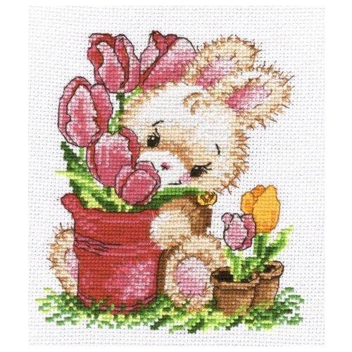 Купить Овен Набор для вышивания Зайчик-тюльпанчик 13 х 16 см (715), Наборы для вышивания
