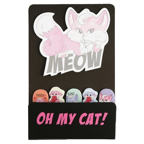 Купить ArtFox набор для записей Очаровательные котики Oh my cat блок с липким краем + стикеры-закладки (4719256) черный/розовый, Бумага для заметок