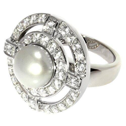 ELEMENT47 Кольцо из серебра 925 пробы с культивированным жемчугом и кубическим цирконием PS071012R-JE1_KO_WS_001_WG, размер 17.75