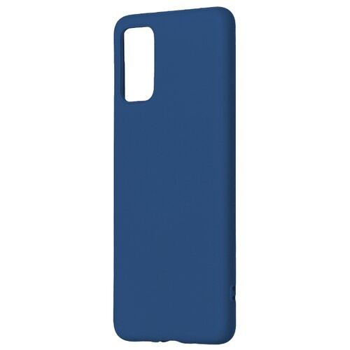 Матовый силиконовый чехол-накладка с бархатной подкладкой из микрофибры PERO для Samsung A71 / Silicone Case на Самсунг Галакси А71  синий