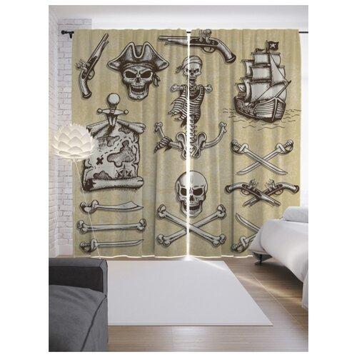 Портьеры JoyArty Пиратские символы на ленте 265 см (p-19203)