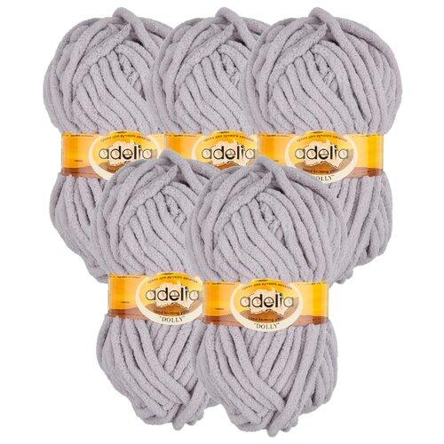 Купить Пряжа Adelia Dolly однотонная, 100 % полиэстер, 100 г, 40 м, 5 шт., №06 серый