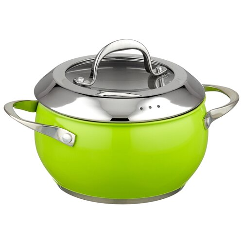 Кастрюля Attribute Greenery 2,5 л, зеленый кастрюля attribute greenery 6 6л 24см нерж сталь с крышкой