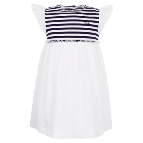Платье Il Gufo размер 92, белый/синий/полоска джемпер il gufo размер 92 синий белый