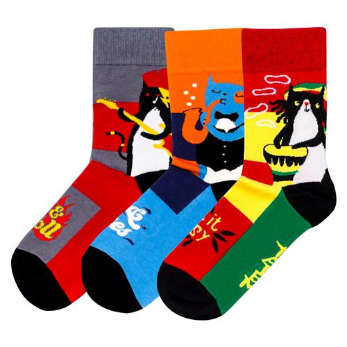 Носки Праздничные коты, набор из 3 пар Tatem socks зеленый/голубой/красныйНоски<br>