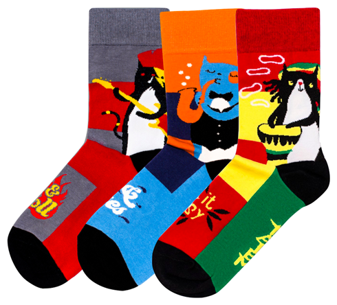 Носки Праздничные коты, набор из 3 пар Tatem socks