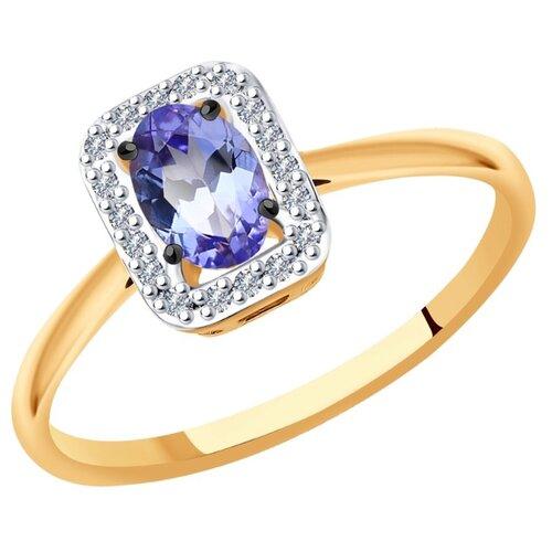 SOKOLOV Кольцо из золота с бриллиантами и танзанитом 6014132, размер 16.5