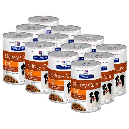Влажный корм для собак Hill's Prescription Diet K/D Kidney Care, при заболеваниях почек, курица 12шт. х 354г