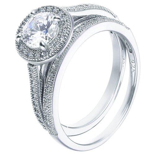 ELEMENT47 Кольцо из серебра 925 пробы с кубическим цирконием 10607_KO_WG, размер 17