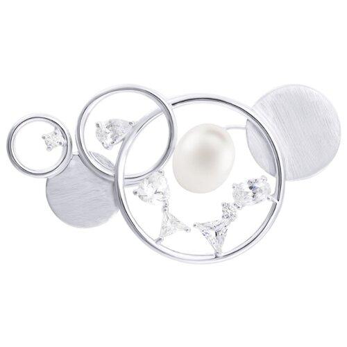 ELEMENT47 Брошь-подвеска из серебра 925 пробы с культивированным жемчугом и фианитами HBBR3660_BRP_WP_001_WG
