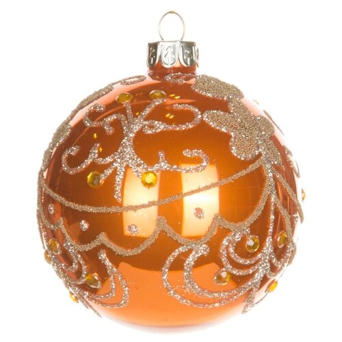 Набор шаров KARLSBACH 06779, оранжевый с золотым узором, 6 шт.