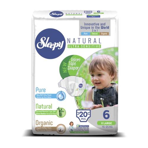Купить Sleepy подгузники Natural Ultra Sensitive 6 (15-25 кг) 20 шт., Подгузники