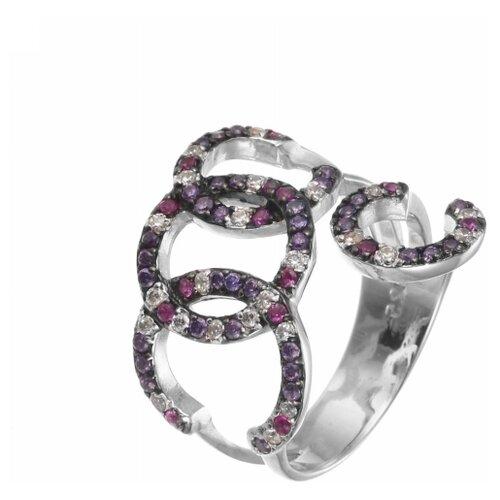 ELEMENT47 Кольцо из серебра 925 пробы с кубическим цирконием R140258C_001_WG, размер 18