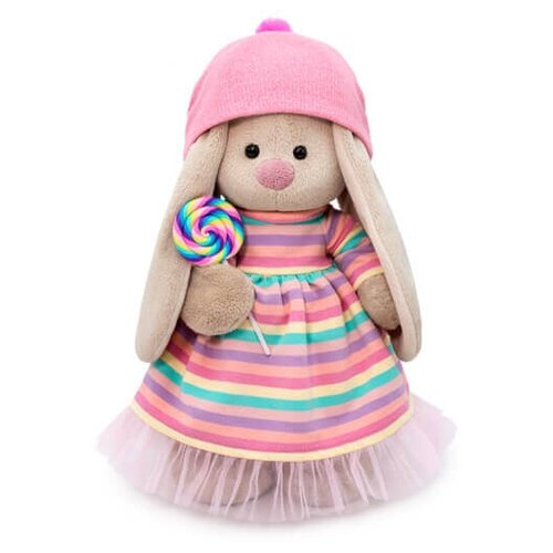 Купить Мягкая игрушка Зайка Ми в полосатом платье с леденцом 32 см, Мягкие игрушки