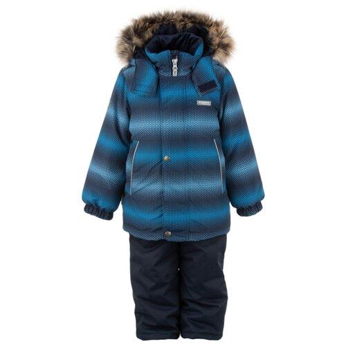 Фото - Комплект с полукомбинезоном KERRY Ron K20420D размер 116, синий/зеленый/серый куртка kerry wolfie k19439 a размер 116 9890 серый