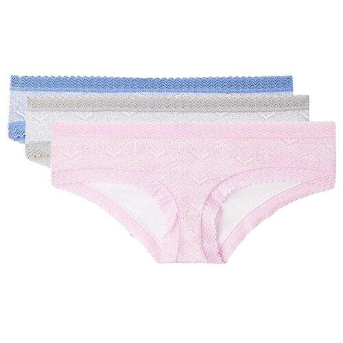 Alla Buone Набор трусов слипы с широкой кружевной тесьмой, 3 шт., размер 3(46), голубой/розовый/серый