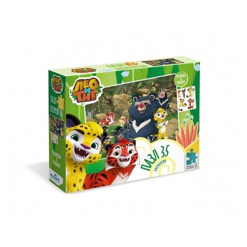 Купить Пазл Origami Лео и Тиг Лесные приключения + наклейки (4380), 35 дет., Пазлы