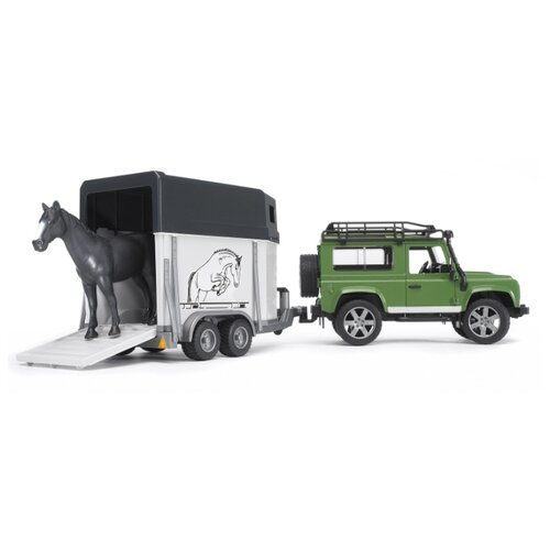 Фото - Внедорожник Bruder Land Rover Defender с прицепом-коневозкой и лошадью (02-592) 61 см зеленый/белый/черный внедорожник bruder jeep cross counrty racer 02 541 29 см голубой