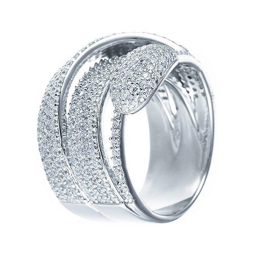 ELEMENT47 Широкое ювелирное кольцо из серебра 925 пробы с кубическим цирконием DM2041R_001_WG, размер 17.5