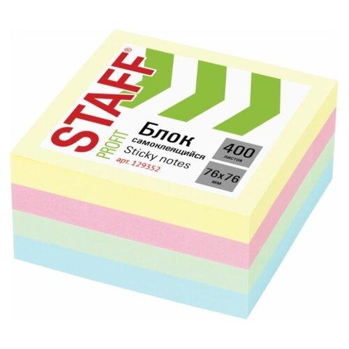 Купить STAFF Блок самоклеящийся пастельный 76 х 76 мм 400 листов (129352) желтый/розовый/зеленый, Бумага для заметок