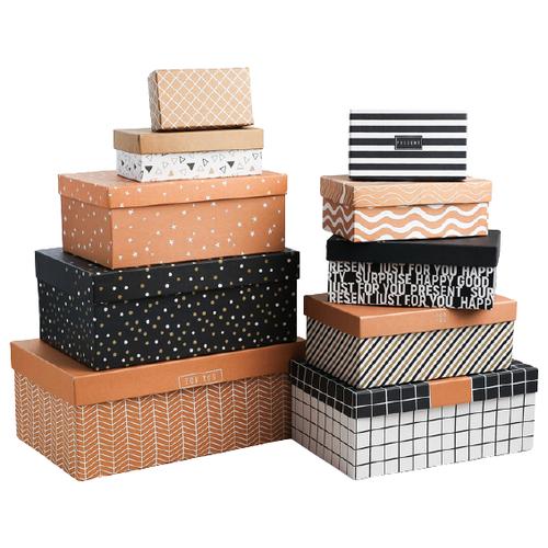 Фото - Набор подарочных коробок Дарите счастье Универсальный, 10 шт. бежевый/белый/черный набор подарочных коробок дарите счастье универсальный 10 шт бежевый белый черный