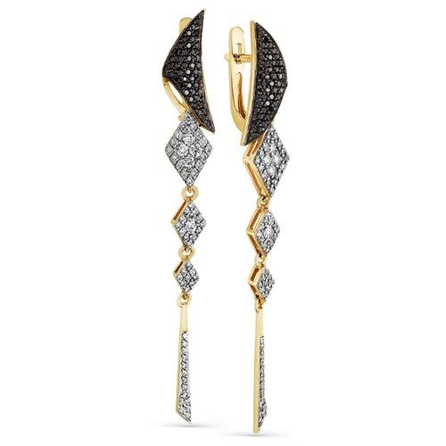 Мастер Бриллиант Золотые серьги с бриллиантом, черным бриллиантом 2-107-724-55