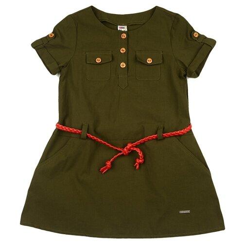Платье Mini Maxi размер 104, хаки/красный платье oodji ultra цвет красный белый 14001071 13 46148 4512s размер xs 42 170