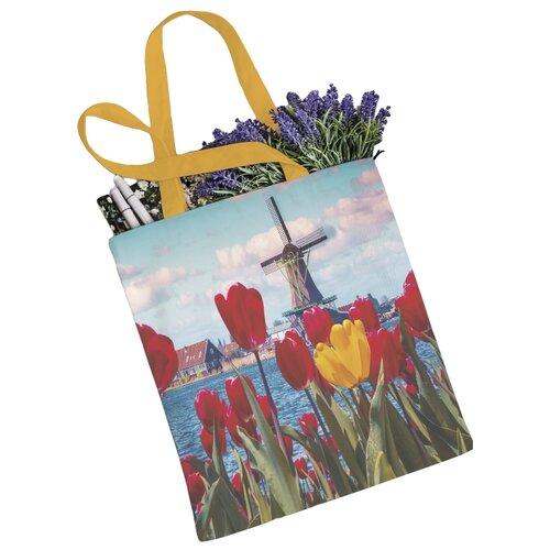 сумка планшет victorinox текстиль красный Сумка JoyArty, текстиль, голубой/оранжевый/красный