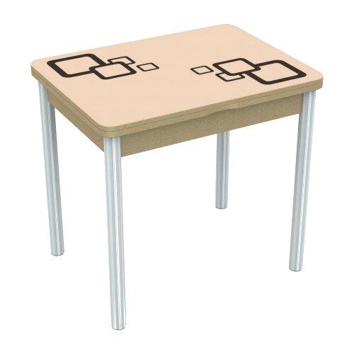Стол кухонный AURORA (Димитровград) Бари 1, раскладной, ДхШ: 80 х 60 см, длина в разложенном виде: 120 см, дуб выбеленный/молочный/коричневый
